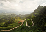 panoramic view of the sunny valley in Ha Giang Province, North Vietnam.