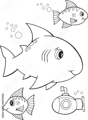 Fotobehang Cartoon draw Cute Shark Vector Illustration Coloring Page