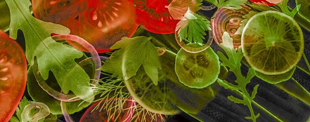 art background from sliced vegetable