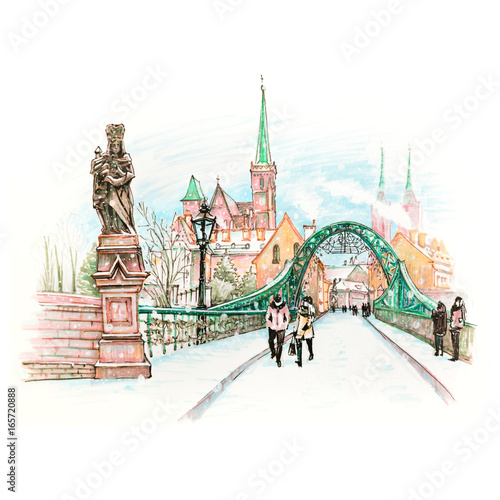 Fototapeta Cathedral Island or Ostrow Tumski with bridge, Cathedral of St. John and church of the Holy Cross and St. Bartholomew in Wroclaw, Poland. Hand drawn picture made markers and liner