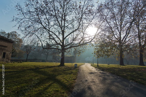 Kalemegdan park on a sunny autumn morning in Belgrade, Serbia