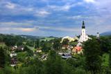 Krajobraz wiejski z lotu ptaka, Branna w Czechach.
