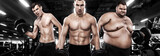 Fat, fit and athletic men. Ectomorph, mesomorph and endomorph . Before and after result. Group of three young sports men - fitness models holds the dumbbell in gym. - 165736686