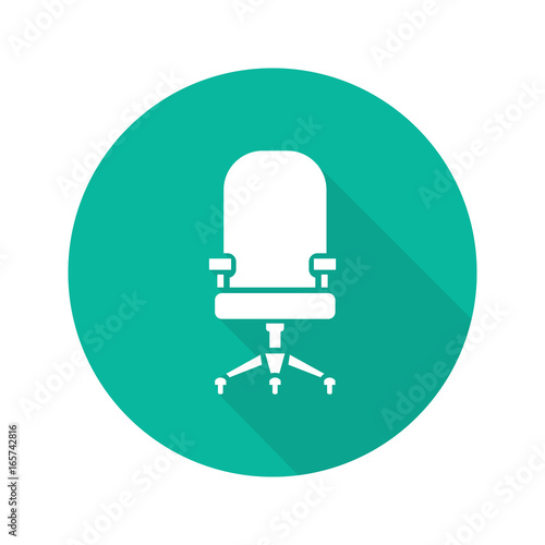 Computer chair flat design long shadow glyph icon