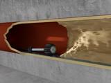 Rohrkamera in Abwasserrohr vor einem Hindernis - Perspektive  - 165747092