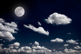 full moon background night sky white cloud