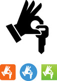 Hand Giving A Key Icon - Illustration