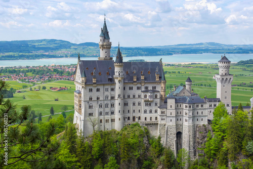 Neuschwanstein Castle is a nineteenth-century Romanesque Revival palace on a rugged hill above the village of Hohenschwangau near Füssen in southwest Bavaria