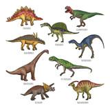 Colored illustrations of different dinosaurs types. Tyrannosaurus, rex and stegosaurus