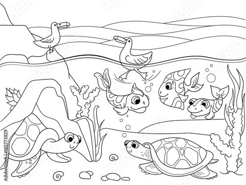 Plexiglas Zoo wetland landscape with animals coloring vector for adults