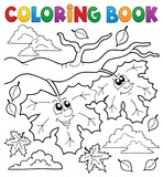 Coloring book happy autumn leaves