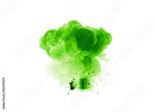 Abstract green explosion with sparks isolated on black background Poster