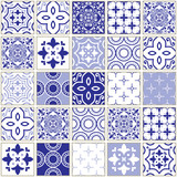 Veector navy blue tiles pattern, Azulejo - Portuguese seamless tile design, ceramics set © redkoala