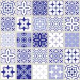 Veector navy blue tiles pattern, Azulejo - Portuguese seamless tile design, ceramics set © redkoala
