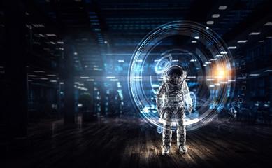 Astronaut explorer in laboratory. Mixed media
