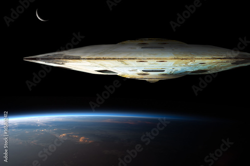 Foto op Canvas UFO A fleet of massive spaceships known as motherships take position over Earth for a coming invasion at sunrise while the crescent moon shines in the background.