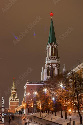 Foto op Plexiglas Moskou Кремль ночной
