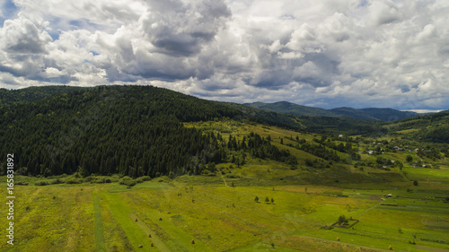 Foto op Aluminium Bleke violet aerial view agriculture field summer day. Summer day landscape.