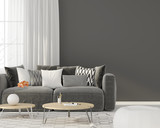 Living room with a gray sofa - 165841402