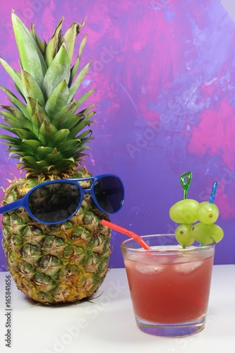 Pineapple fruit with blue  sunglasses drinks fruity cocktail Poster