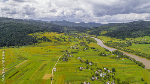 aerial view agriculture field summer day. Summer day landscape.