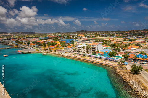 Tuinposter Nice Arriving at Bonaire, capture from Ship at the Capital of Bonaire, Kralendijk in this beautiful island of the Ccaribbean Netherlands, with its paradisiac beaches and water.