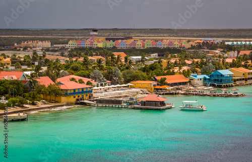 Fotobehang Caraïben Arriving at Bonaire, capture from Ship at the Capital of Bonaire, Kralendijk in this beautiful island of the Ccaribbean Netherlands, with its paradisiac beaches and water.