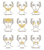 Types of Gold Gel Patch. Anti Wrinkle Patch. Vector Illustration.