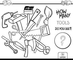 counting tools coloring page activity