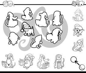 match silhouettes activity coloring page