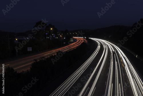 motorway highway road car light trails at night time australia