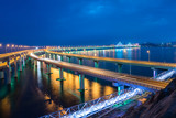 Dalian Cross-Sea Bridge at night,China.