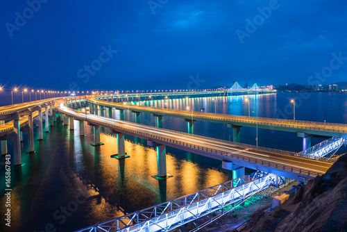 Poster Dalian Cross-Sea Bridge at night,China.