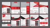 a bundle of 10 templates of a4 flyer template, modern template, in red color, and modern design, perfect for creative professional business - 165868496