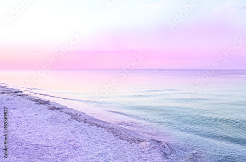 Fotobehang Purper Colorful sea beach sunrise.