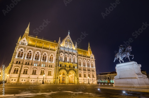 Night view of the Hungarian Parliament Building in Budapest, Hungary