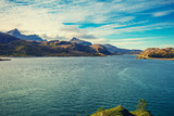 Panoramic view of the fjord. Lofoten islands, Norway