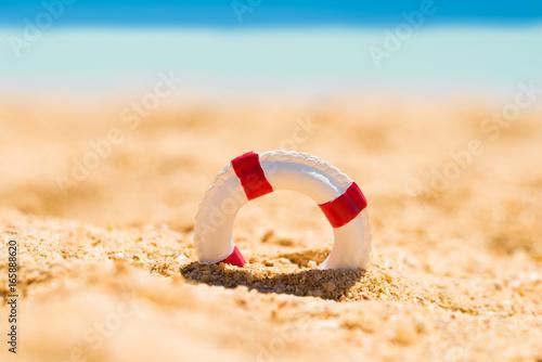 Miniature Lifebuoy In Sand