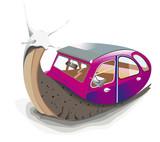 escargot avec une voiture violette