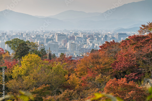 Autumn season and Kyoto town, Japan.