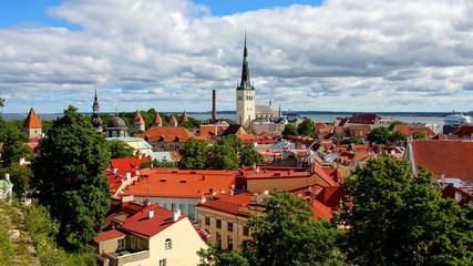 Panorama in Tallinn mit Wehr-und Kirchtürmen vom Domberg aus gesehen
