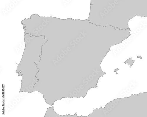 Spanien - Karte in Grau