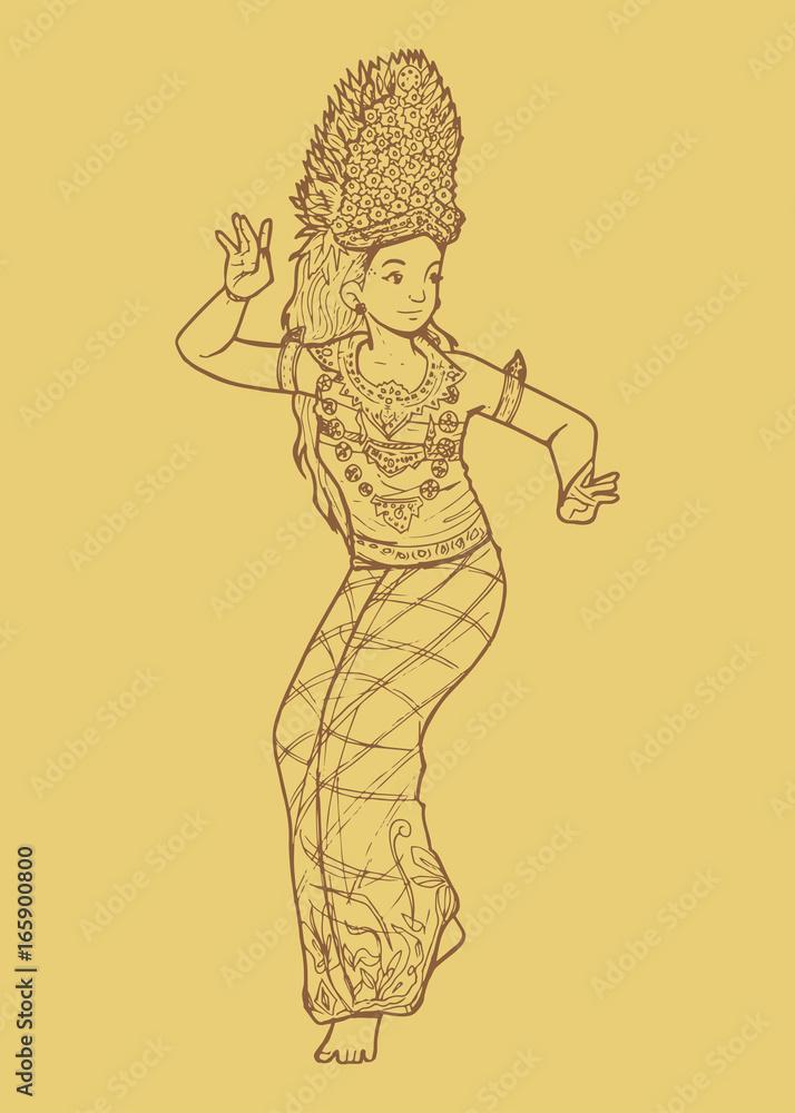Traditional Indonesian Dance From Bali Tari Legong Wall Sticker ...