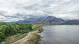 Aerial view of the abandoned ship wreck in Fort William with Ben Nevis in the background - 165902016