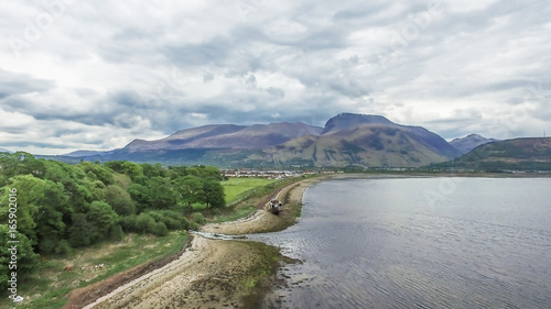 Foto op Aluminium Schipbreuk Aerial view of the abandoned ship wreck in Fort William with Ben Nevis in the background