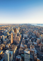 Aerial view on Skyline in Downtown Lower Manhattan NYC America