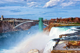 Niagara Falls and Rainbow Bridge in American early spring