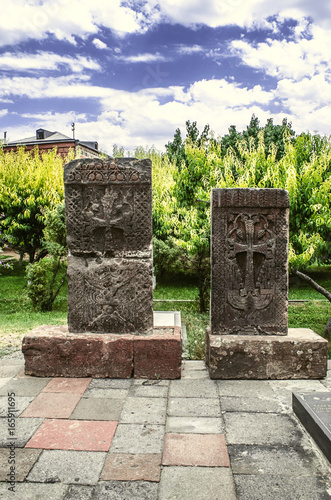 Medieval tombstones stone carved cross on the territory of the Church of Martyr Gayane in Etchmiadzin