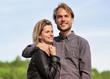 Young caucasian couple embrace