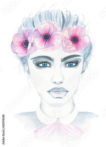 Watercolor hand painted fashion girl with floral wreath of pink anemones isolated on white background © dina_asileva